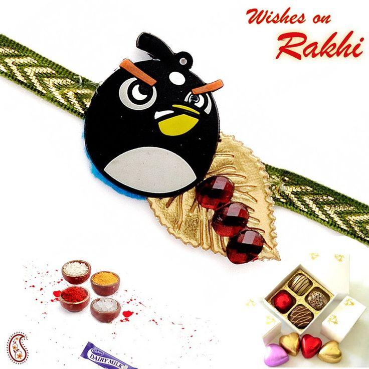 Black Angry Bird Kids Rakhi to India #Rakhi #KidsRakhi #RakhiGifts #onlinerakhiindia #RakhitoIndia