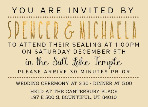 Michaela And Spencerrate This Post Find Pin More On Lds Wedding Invitations