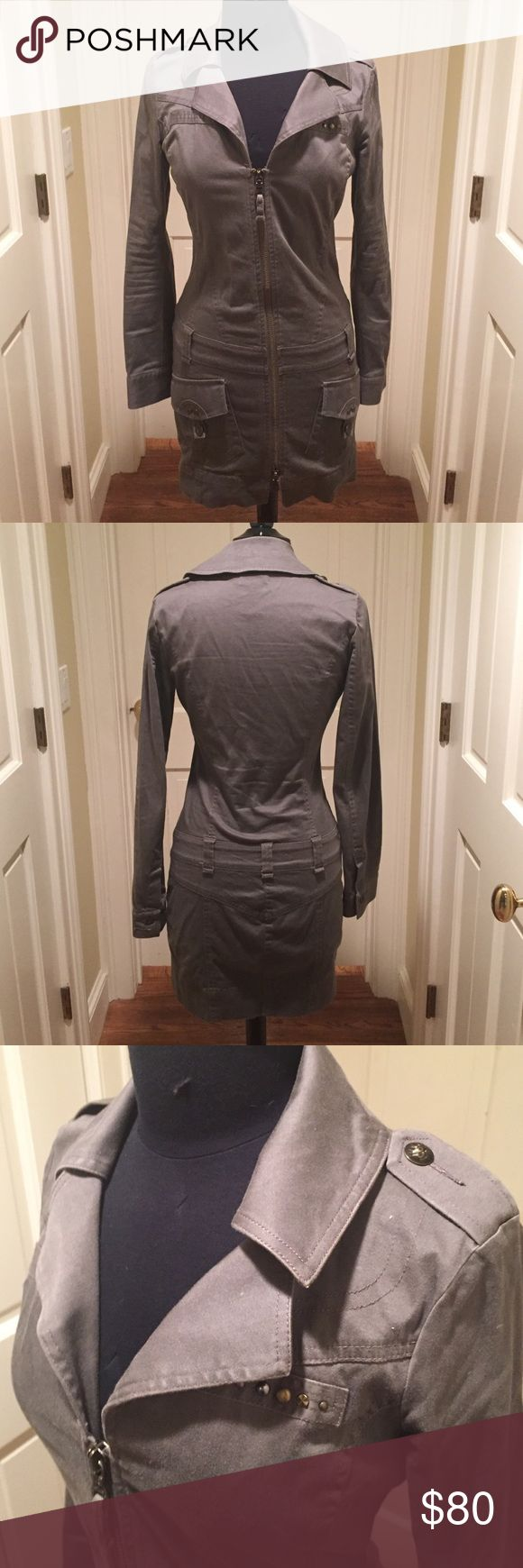 Authentic Diesel Coat/Dress Diesel Coat or you can wear as a dress with a belt. Very good condition with nice detail. Army greenish gray color. Goes down to the thigh. Diesel Jackets & Coats