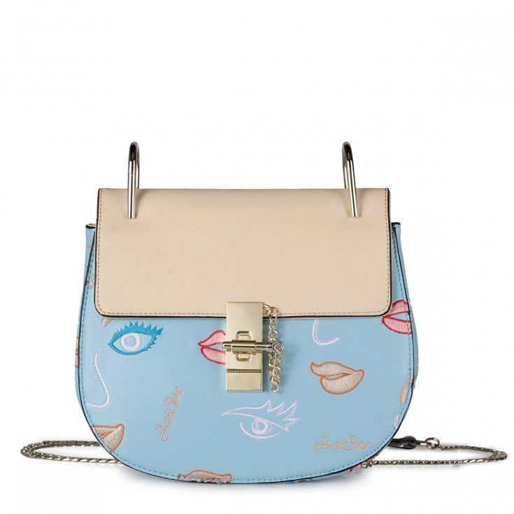 Exclusive Light Blue Handbag With Gold Chain and Beige Lips