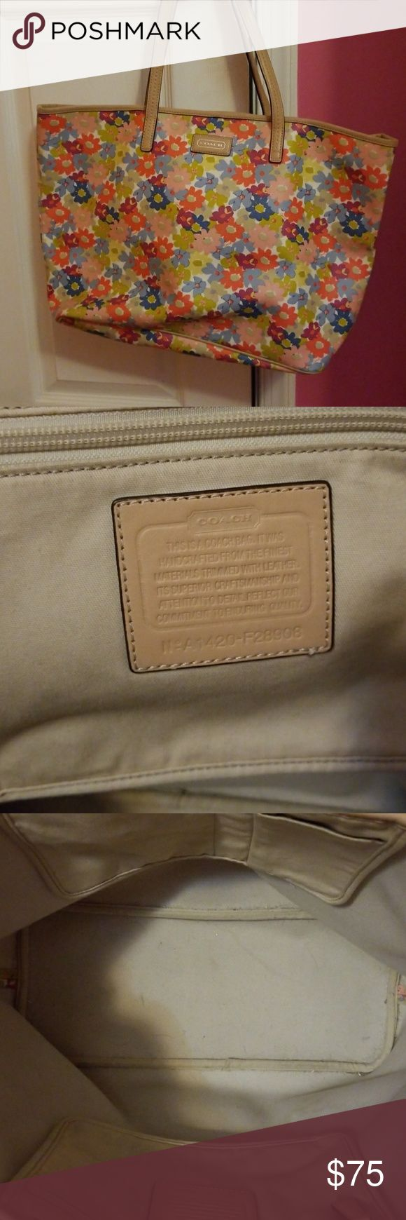 Coach Tote Bag Used Coach bag still looks brand new. Small stain on the bottom of the bag inside Coach Bags Shoulder Bags