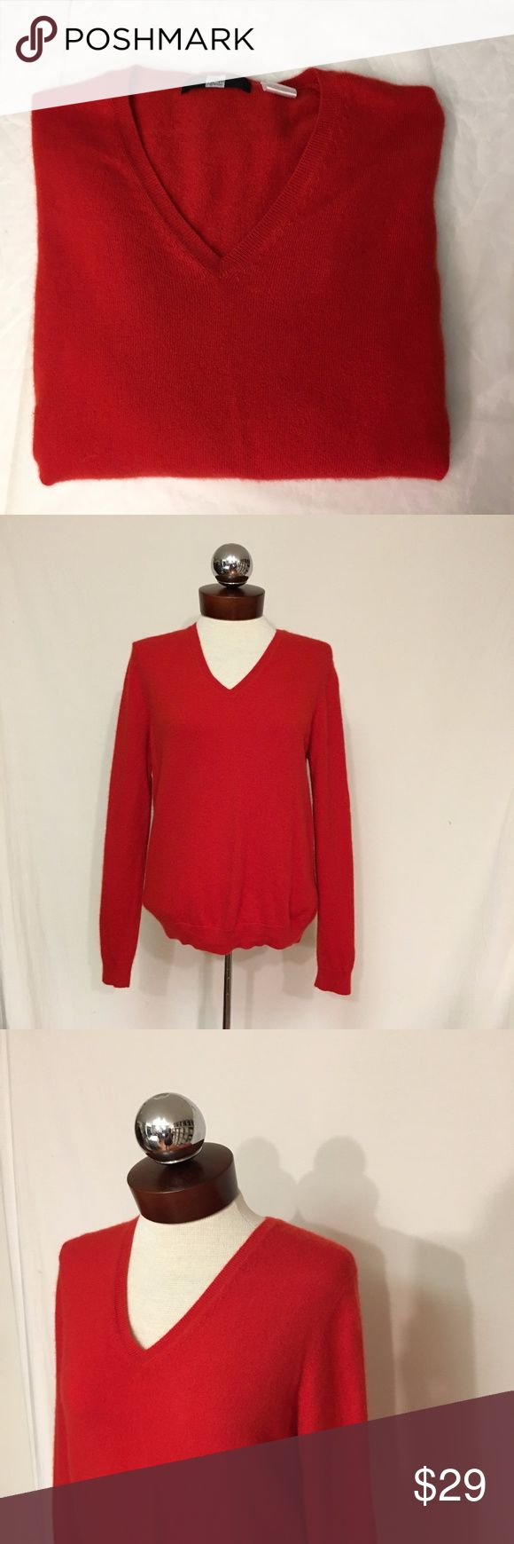 SAKS FIFTH AVENUE 100% cashmere solid red v neck minimal wear with no rips, stains, flaws, etc.   100% cashmere  Bust 36  Length 23 Saks Fifth Avenue Sweaters V-Necks