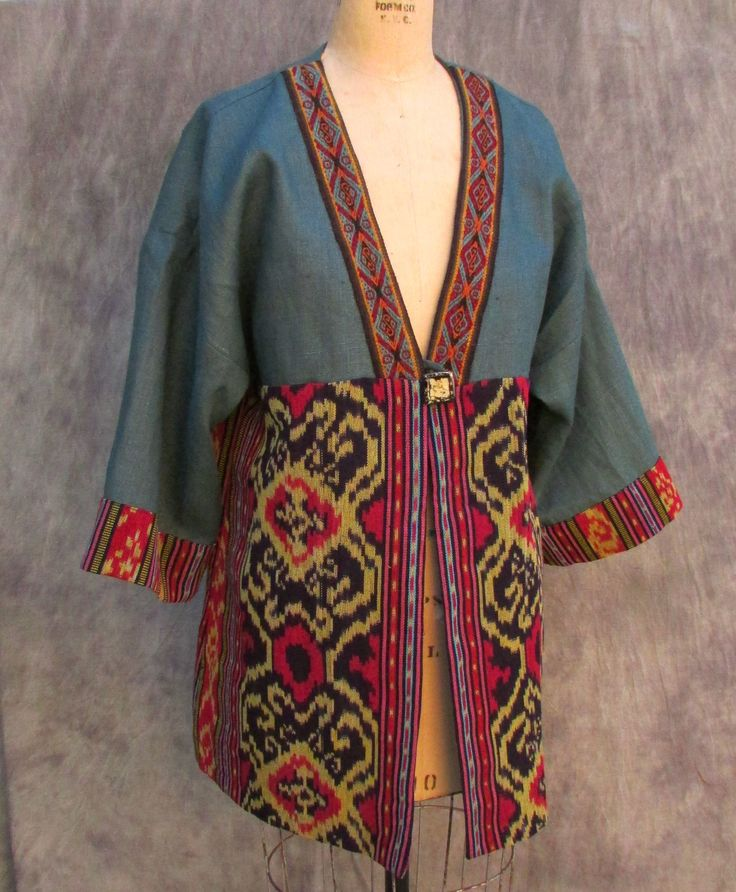 Jade Ikat Kimono Jacket of linen, cotton ikat form Indonesia and Peruvian braid trim