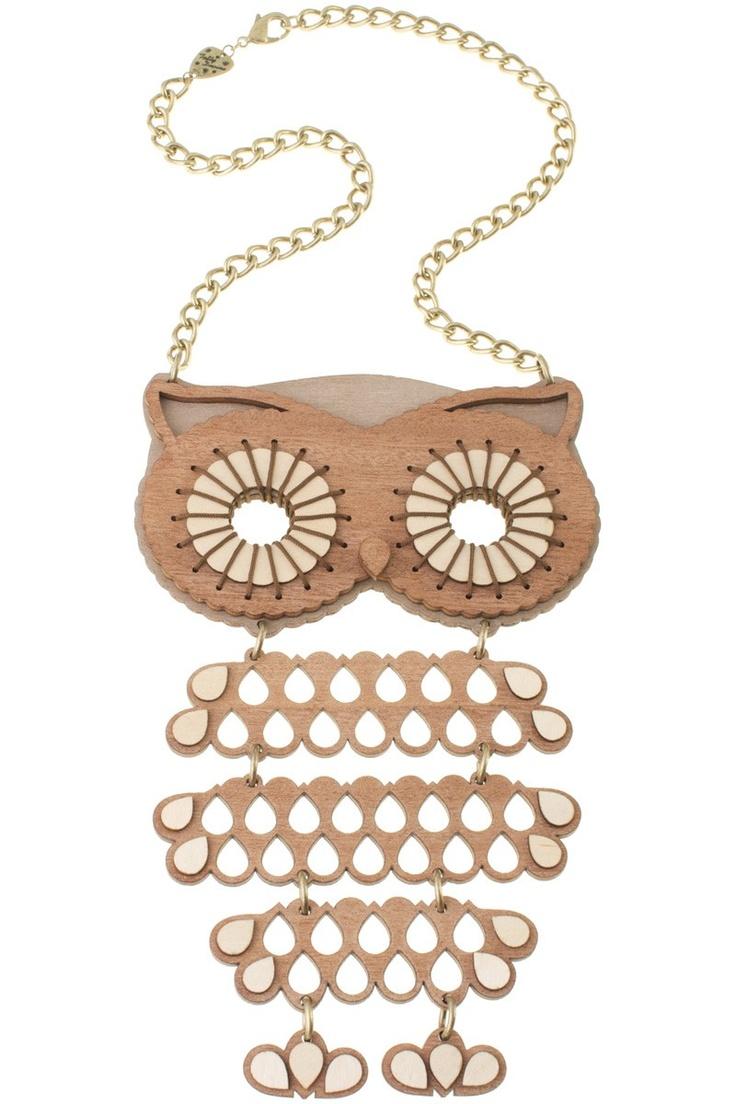 Owl Super Wooden Necklace