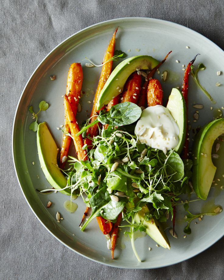 ABC Kitchen's Roasted Carrot & Avocado Salad from Genius Recipes. Ingredient list is missing the avocados.