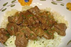 Beef tips with Rice from food.com I made this tonight, so delicious and easy!! I added sautéed sliced mushrooms towards the end and used a different cut of meat (petite top sirloin) but other than the addition of more salt and pepper at the end, didn't change anything else. Will definitely make this again.