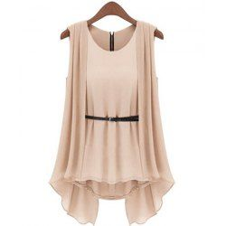 Stylish Scoop Collar Solid Color Belted Irregular Design Sleeveless Women's Chiffon Blouse