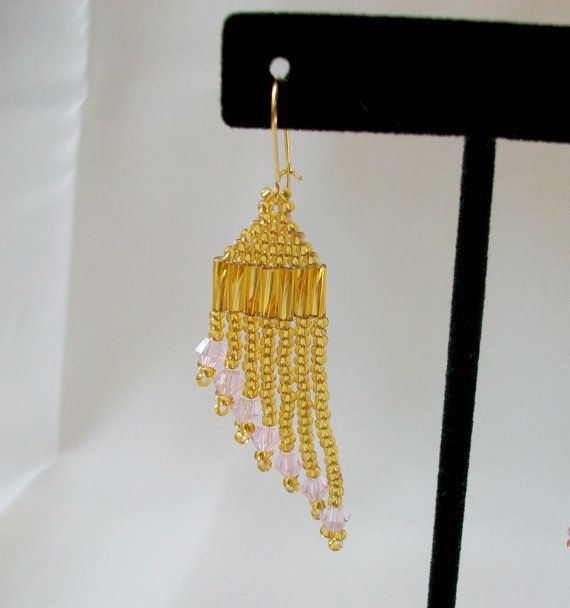 Gold Beaded Pink Accent Dangle Earrings  Gifts by CallunaMuse, $18.00