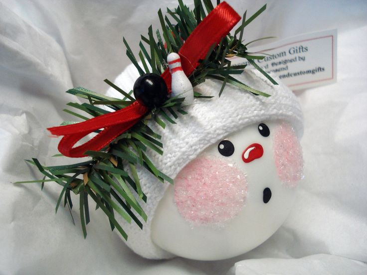 snowman ball ornament | Bowling Snowman Ornament Christmas Tree Bulb Hand Painted Glass ...