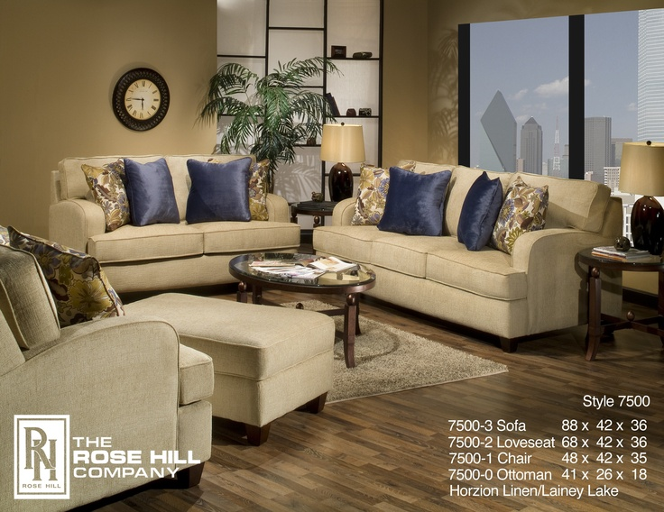 Rose hill furniture horizon linen complete living room set for Complete living room furniture