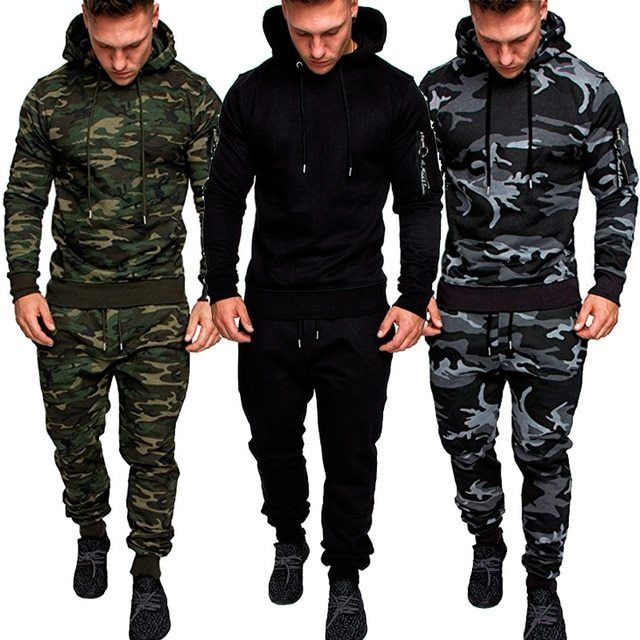Pants Tracksuit Mens Casual Camo Military Sports Combat Sweatshirt Hoodie Tops
