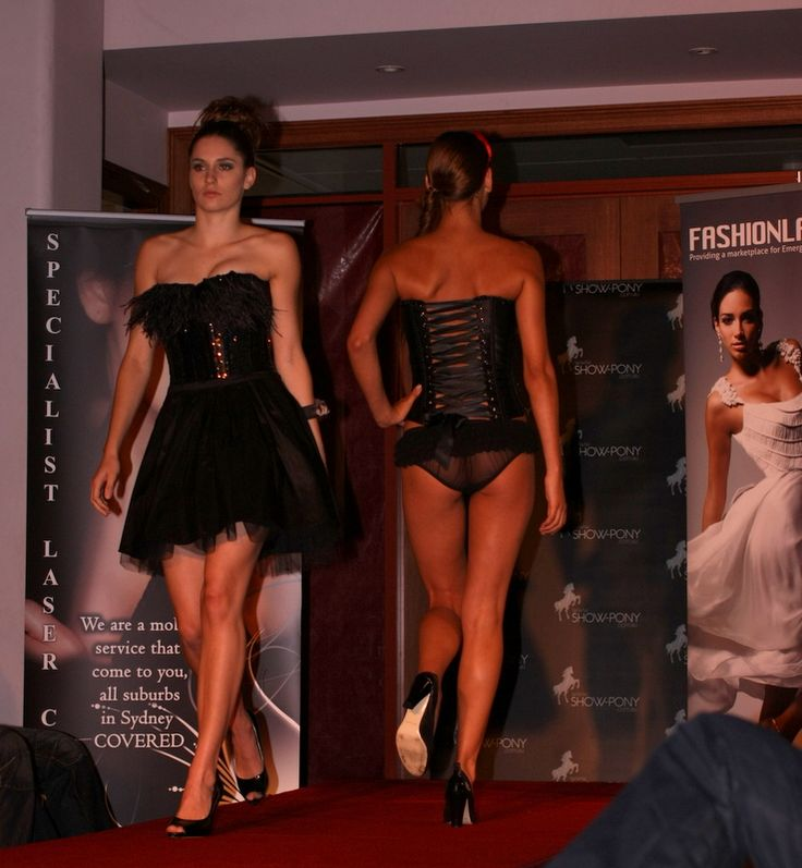 Corsets for outerwear or lingerie.  Jessica's fashion show in Sydney.