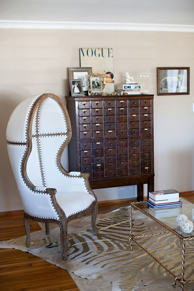 dome chair, card catalog (used for wine storage!), zebra rug in my living room