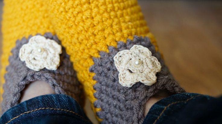 Papuci croșetați pentru femei/ Papuci caldurosi