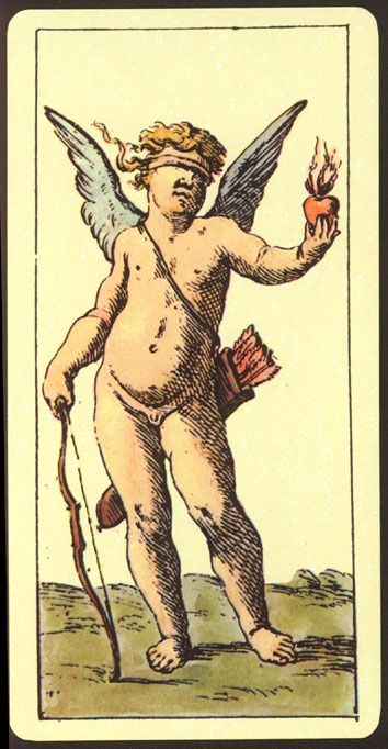 An interesting Lovers card from the Mitelli Tarocchini from the 1600's.  It only portrays the Cupid, or 'Love'.