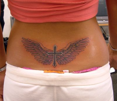 Hot Lower Back Tattoos | Lower Back Cross Tattoo Design for Hot Girls