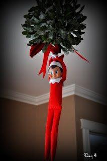 Our Elf Rex hanging from the mistletoe! Day 4