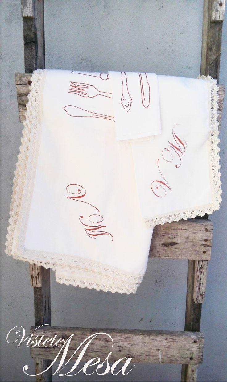 Set de manteleria estampado por serigrafia