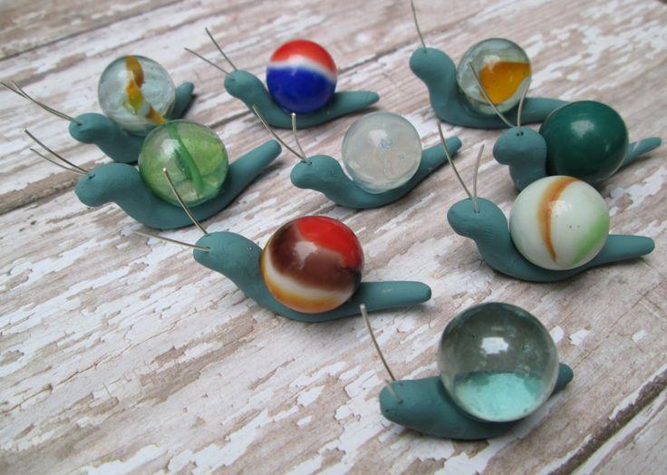 Set of 3  Marble Miniature Fairy Garden Snails by OrangeHound