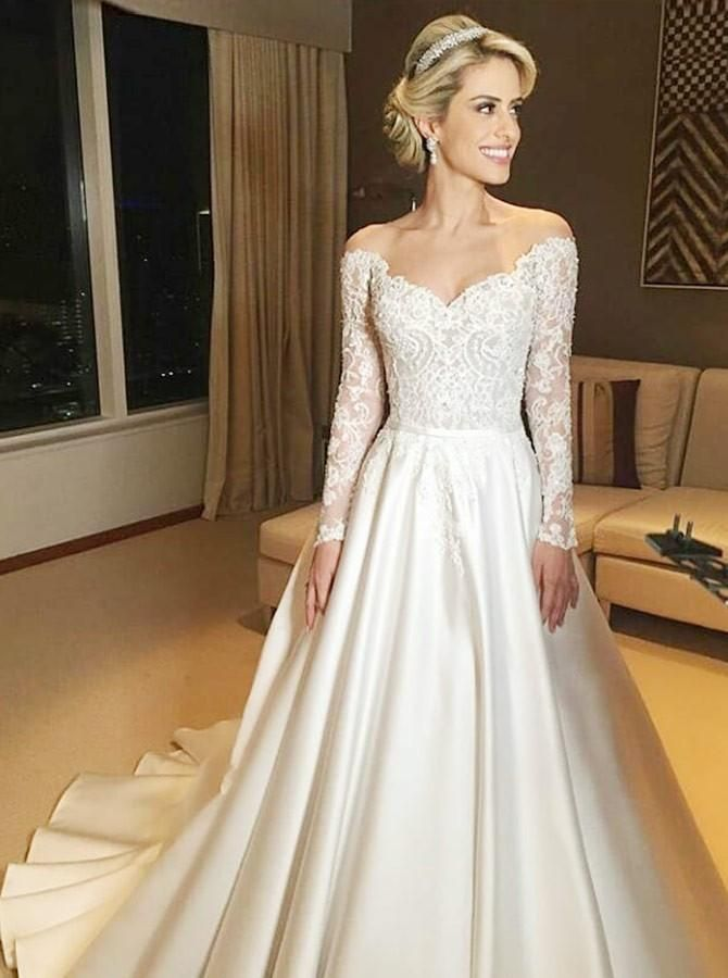 Beauty Bridal Lace and Satin V Neck Long Sleeves Wedding Dresses