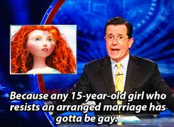 "A Newspaper's headline was ""Is Pixar's Brave princess a lesbian?""  Oh I love this man :)"