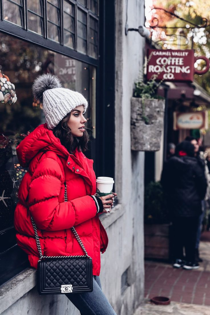 Casual outfit - red puffer jacket & pom pom hat