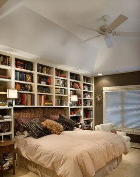 bookshelves around bed, swing arm lamps, nightstands in front of bookshelves (can't do without nightstands)