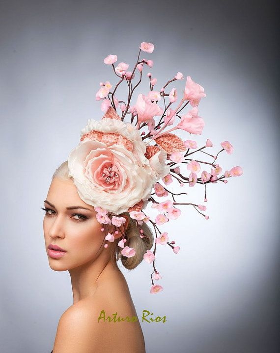 Rose Cherry Blossom Fascinator, Blush casque, chapeau de Cocktail, chapeau de printemps, Couture chapeau, chapeau de Derby par ArturoRios