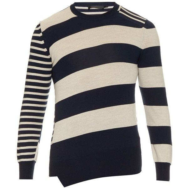 Alexander McQueen Contrast-stripe wool-knit sweater ($480) ❤ liked on Polyvore featuring men's fashion, men's clothing, men's sweaters, mens striped sweater, mens woolen sweaters, men's wool crew neck sweaters, mens wool sweaters and mens crew neck sweaters
