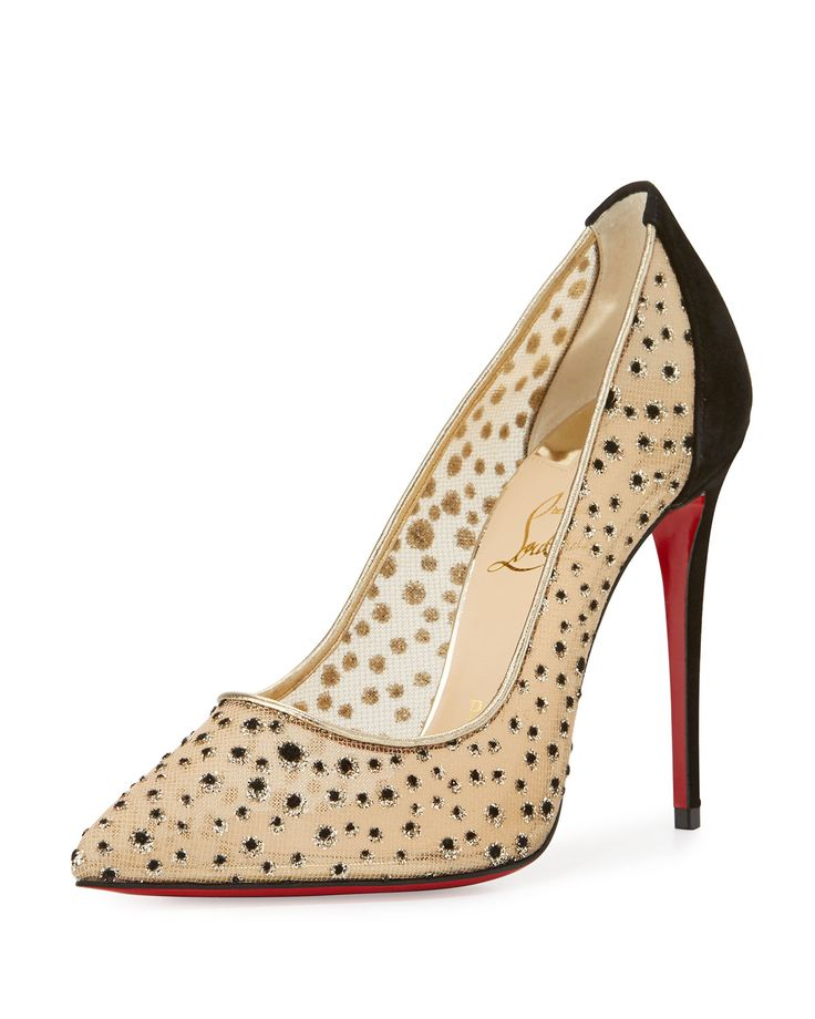 Follies Lace Red Sole Pump, Black/Natural by Christian Louboutin at Neiman  Marcus.