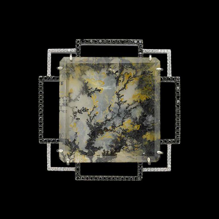 Le Jardin  Дендритных Кварц · Черные и белые бриллианты ·  Белое золото Le Jardin Подвеска Брошь Редкий Кварц