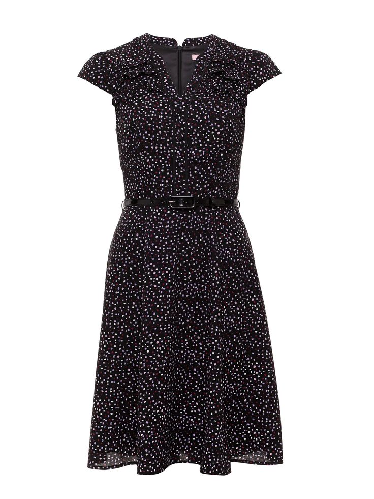 Ada Spot Dress | Black/Multi | Dresses