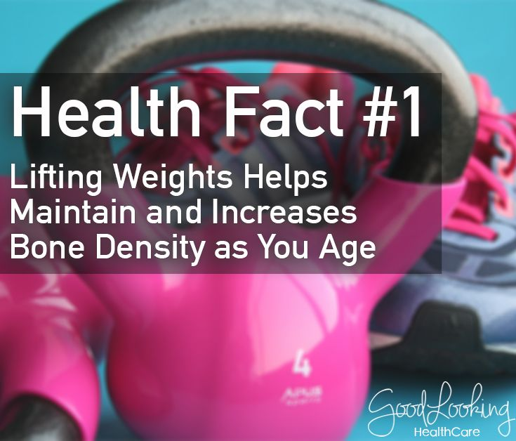Lifting weight helps maintain and increases bone density as you age #GoodLookingHealthFact
