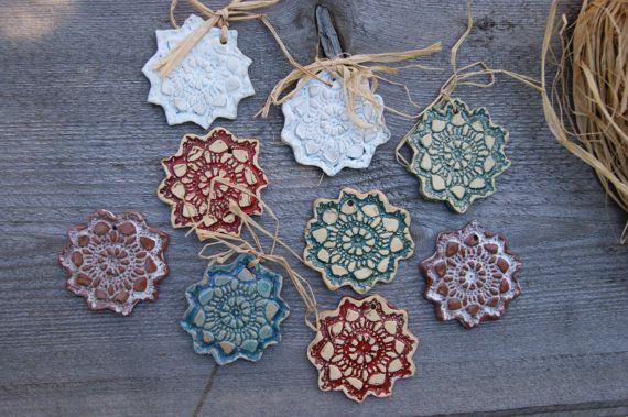 Set 9 ceramic Xmas Decoration christmas wall christmas decorations by GlinianaKoniczynka