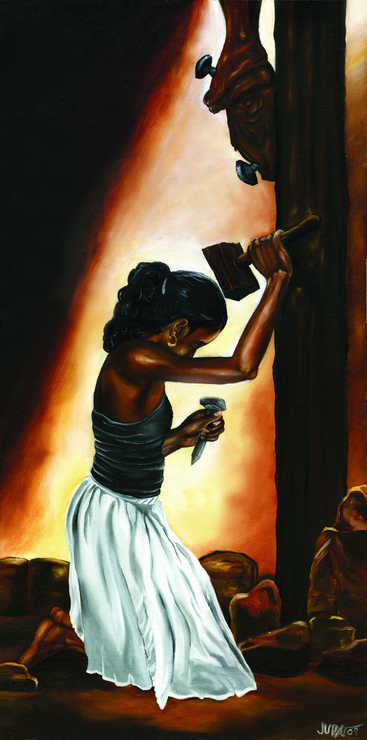 """A powerful testimony from the canvas of Juda Ward. This one is entitled """"Forgiving""""."""