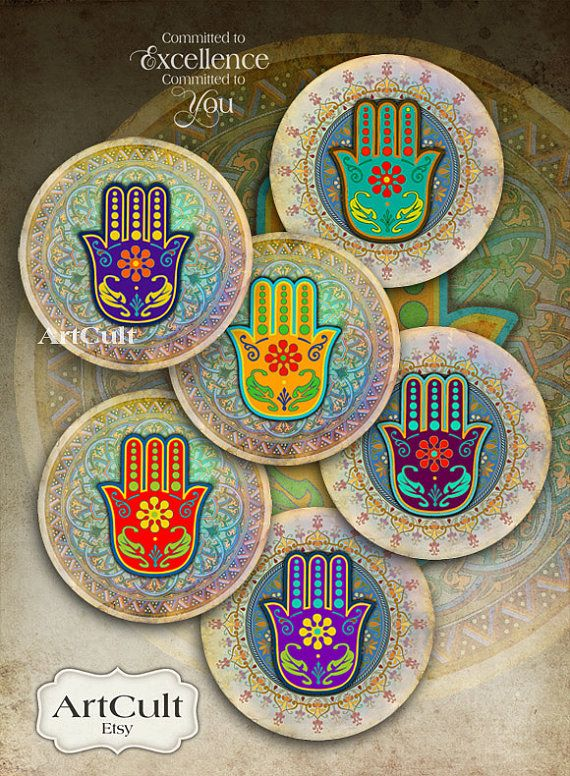 FATMA'S HAND - 2.5 inch Digital Collage Sheet moroccan hamsa images for Pocket Mirrors Magnets Paper Weights Printable Spiritual images