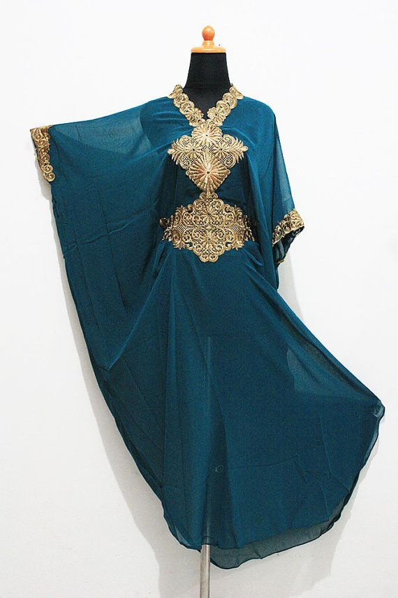 Moroccan Teal Blue Sheer Chiffon Caftan Gold Embroidery