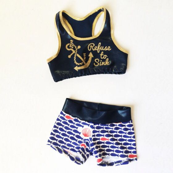 Nautical inspired sports bra and workout shorts. Glitter anchor top and fish bottoms