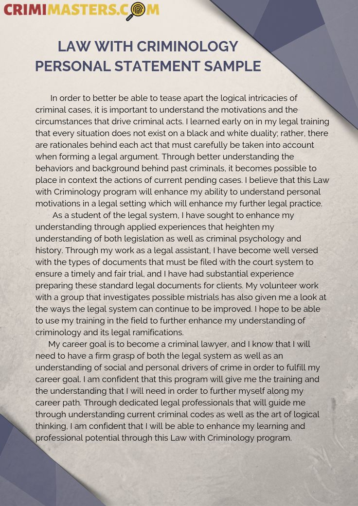 Law with Criminology Personal Statement Sample Personal