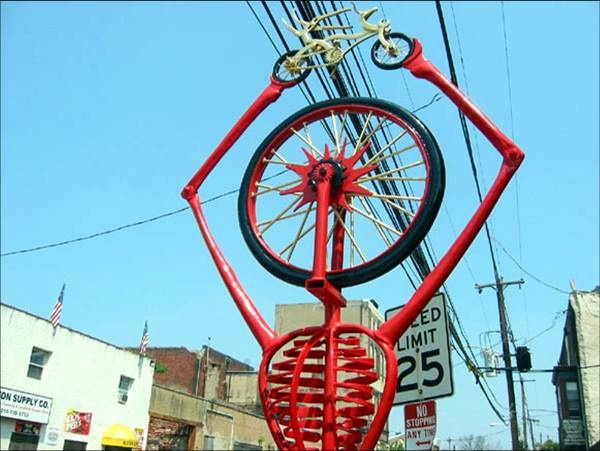 Bicycle Icon Rack @ Johnny Brenda's, Frankford and Girard  Designed and manufactured by Bob Phillips