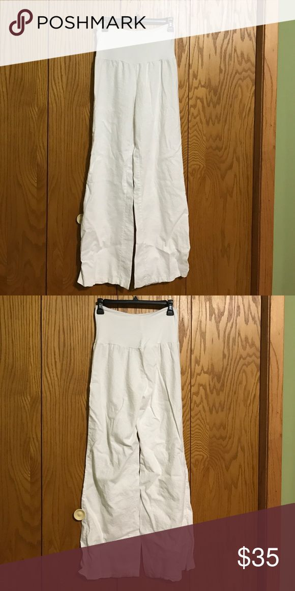 Linen White Beach Pants Stretchy top and super comfy pants! Only worn once. Wide leg at the bottom. Pants