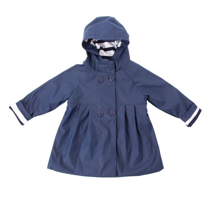 French Soda Scarlet Navy Raincoat - $64.95 - Gorgeous, stylish and built to withstand the elements... rain, wind & wintry days that is!  Beautiful navy blue Scarlet girls raincoat by French Soda!  Whether it's jumping in puddles or just a day out and about this is the perfect winter coat, raincoat or windbreaker for your little girl this winter!  100% waterproof and features 100% jersey cotton lining ensuring she'll stay dry and warm. #littlebooteek #girls #fashion #frenchsoda