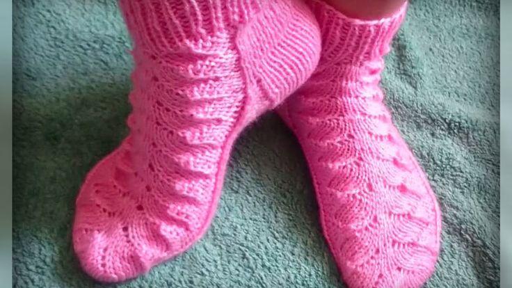 женские носки рисунком, вязание спицами