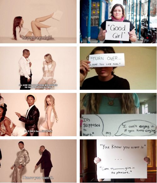 On the left we have the lyrics from Robin Thicke's Blurred Lines. On the right are rape survivors participating in Project Unbreakable, showing the various things that were said to them by their rapist.  From the Mouths of Rapist: The Lyrics to Robin Thicke's Blurred Lines. (Click through...)