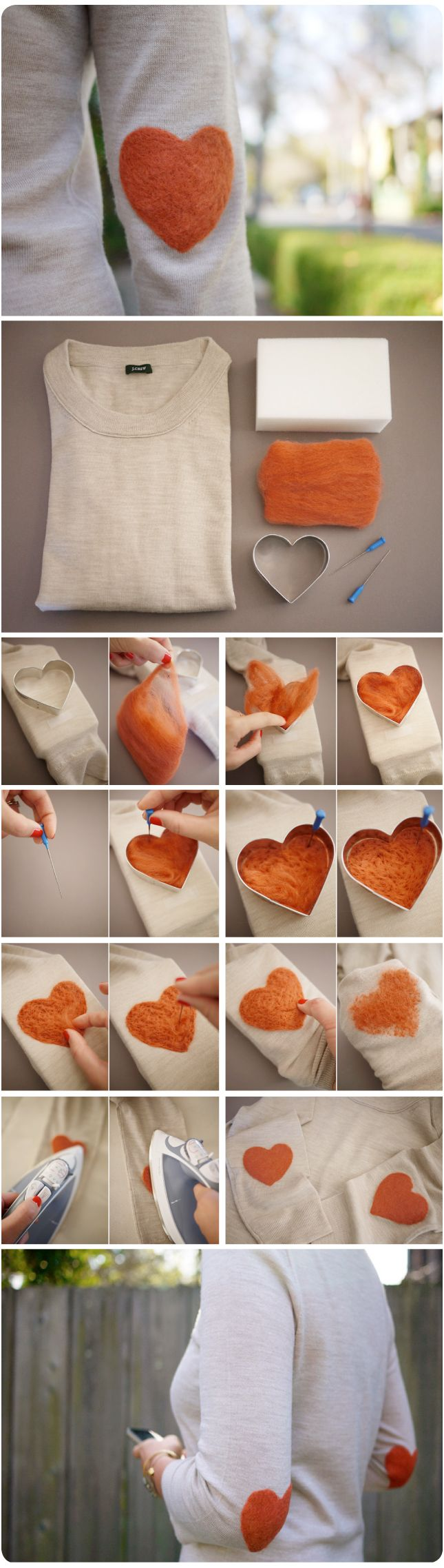 D.I.Y. Heart shaped elbow patches. Swoon.: Diy Ideas, Projects, Sweaters, Felt Wool, Elbow Patches, Cute Ideas, Needlefelt, Needle Felt, Felt Heart