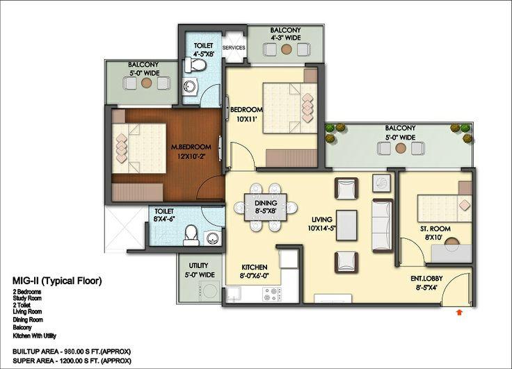 Floor Plan- 1200 sqft: 2 Bhk+ 2 bath+ 2 Balconies.