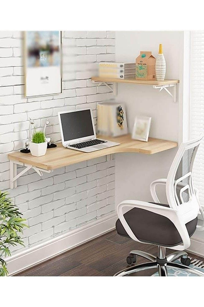 21 Practical Wall Desk Ideas For Serious Space Saving In 2020 Desks For Small Spaces Small Wall Desk Desk In Living Room