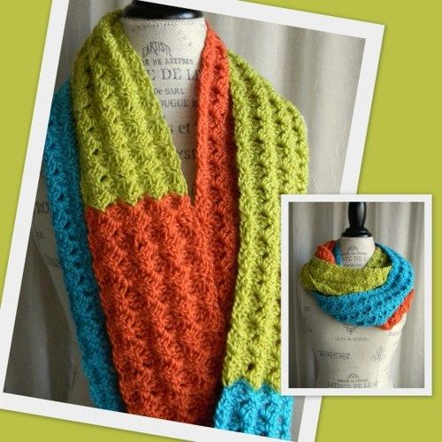 Colorblock Infinity Scarf Cowl in Lime Turquoise and Coral - Handmade   myMountainStudio - Accessories on ArtFire