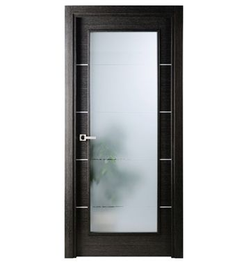 Avanti Vetro Interior Door in a Black Apricot Finish w/Silver Strips and Frosted Glass