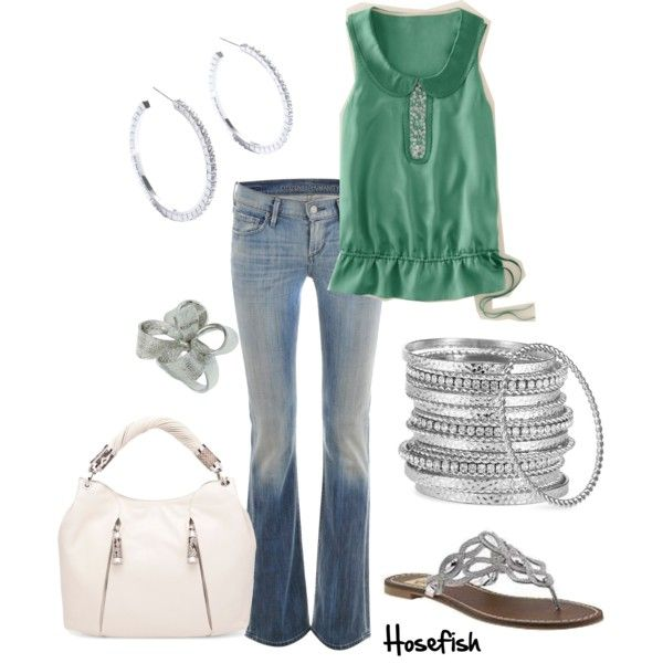 summer: Green Tops, Day Outfits, Outfits Inspiration, Green Outfits, Cute Outfits, Summer Outfits, Silver Shoes, Silver Bangles, Casual Outfits